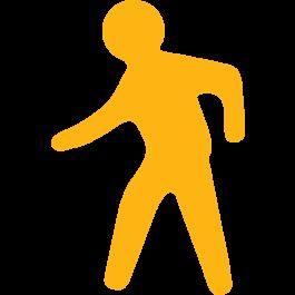 Jalkakäytävä-lattiakuvake lattioiden merkintään, liukastumista estävä