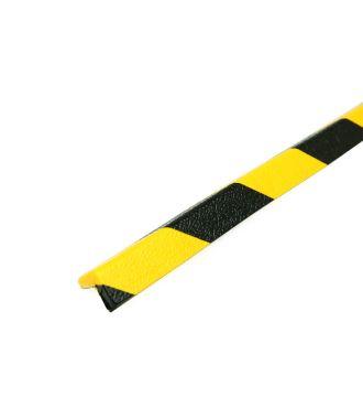 PRS-suoja kulmiin, malli 45 - keltainen/musta - 1 metri