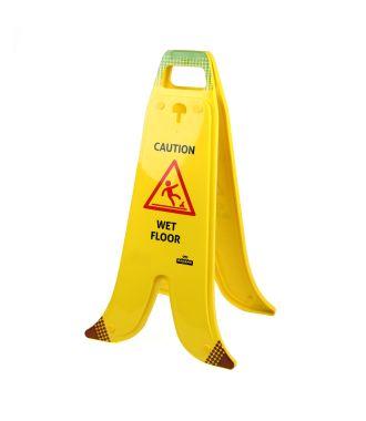 Kokoontaittuva banaaninmuotoinen A-kyltti märille lattioille