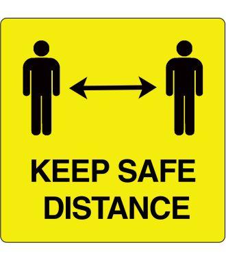 """Keep Safe Distance"" sticker (Maxi-Loka Premium) Yellow & Black"