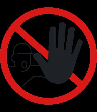 """Luistamaton lattiakuvake: """"Luvaton kulku kielletty"""""""