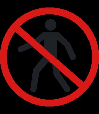 """Luistamaton lattiakuvake: """"Ei jalankulkijoille"""""""