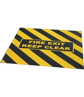 """FIRE EXIT KEEP CLEAR"" -varoitusteippi varauloskäynnille"