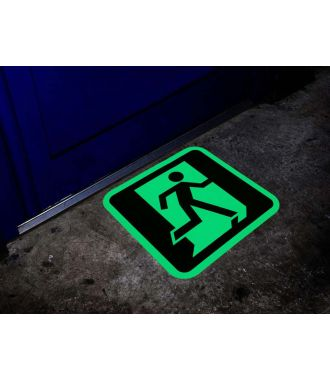 Pimeässä hohtava hätäuloskäyntimerkki